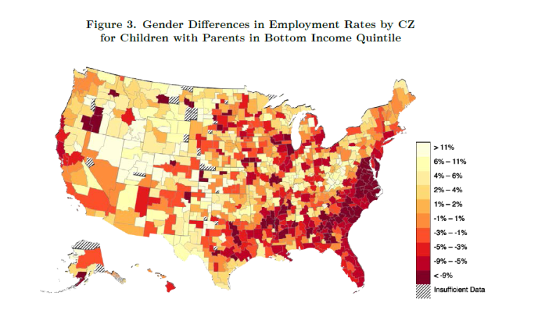 Gender Differences in Employment Rates by CZ