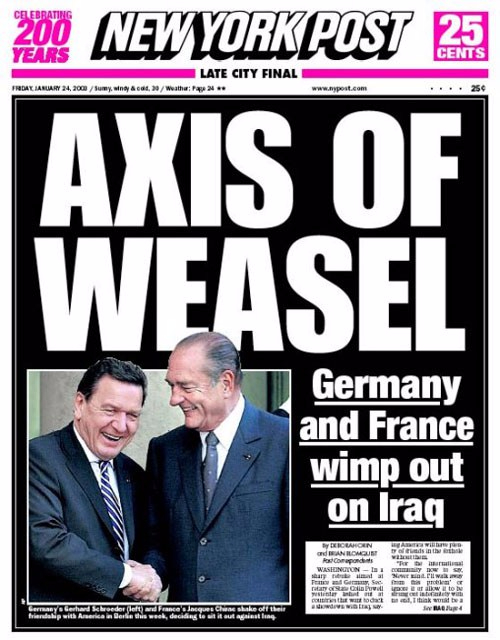axis of weasel :- New York Post 24 jan2003